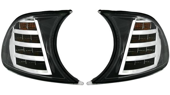 LED-Frontblinker für 3er BMW (E46) Coupe/Cabrio, schwarz/chrom
