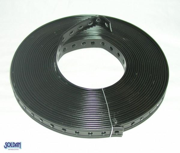 Montagelochband, schwarz, kunststoffummantelt, 10m x 19mm