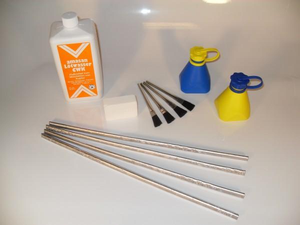 XL-Lötset für Dachdecker, inkl. Lötzinn 97%, Lötwasser f. Kupfer